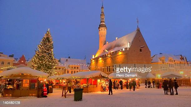 tallinn christmas market - estonia stock photos and pictures