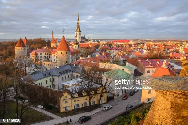 tallinn city from view point during sunset - estonia stock photos and pictures