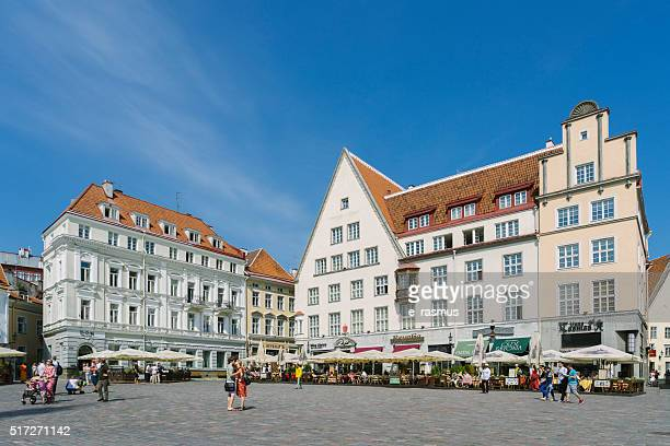 tallinn city square, raekoja plats, estonia - tallinn stock pictures, royalty-free photos & images