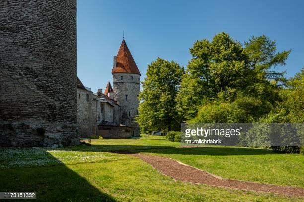 tallinn city wall - estonia fotografías e imágenes de stock