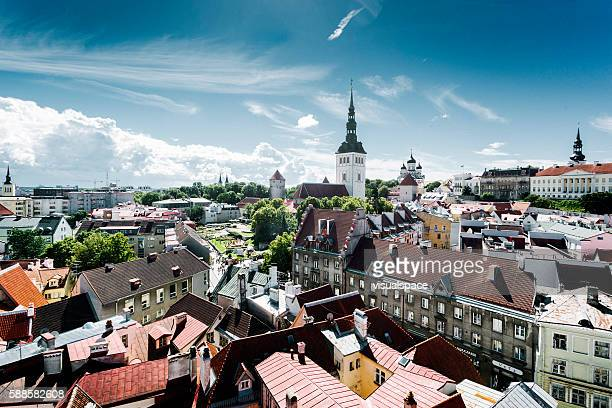 tallinn cityscape, estonia - estonia stock photos and pictures