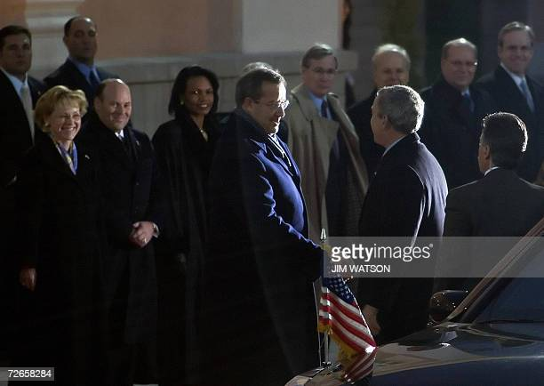 US President George W Bush is greeted by his Estonian counterpart Toomas Hendrik Ilves prior a welcoming ceremony at Kadriorg Palace in Tallinn 28...