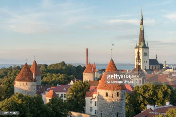 tallinn old town skyline from viewpoint - old town stock pictures, royalty-free photos & images