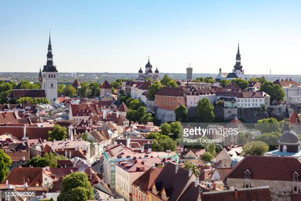 tallinn's old town seen from st olaf' church, estonia - estonia stock pictures, royalty-free photos & images