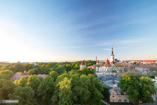 tallinn's old town with st olaf's church's spire towering above it, estonia - estonia stock pictures, royalty-free photos & images