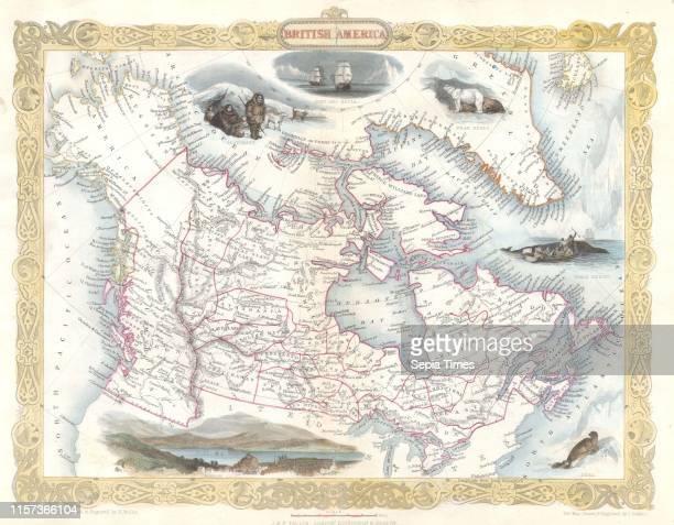 1849 Tallis Map of Canada or British America w Oregon