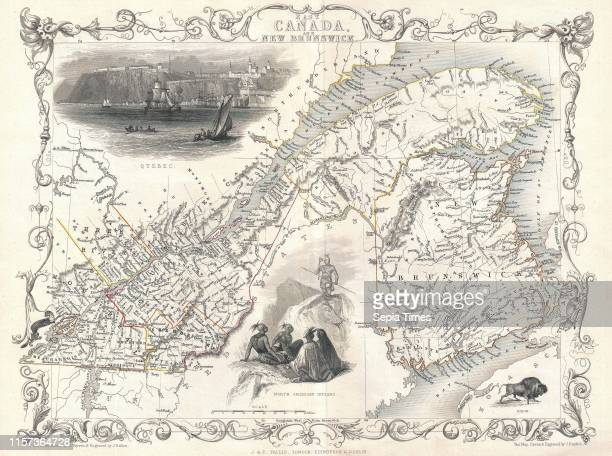 1850 Tallis Map of East Canada or Quebec and New Brunswick
