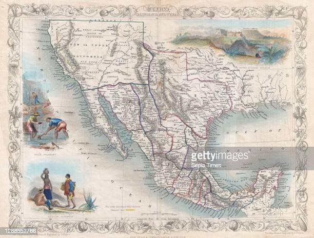 Tallis Map of Mexico, Texas, and California.