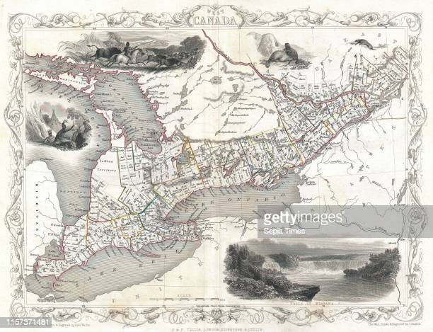 1850 Tallis Map of West Canada or Ontario includes Great Lakes