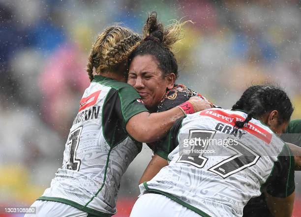 Tallisha Harden of the Indigenous All Stars is tackled by Tazmin Gray of the Maori All Stars during the NRL All Stars game between Indigenous and...