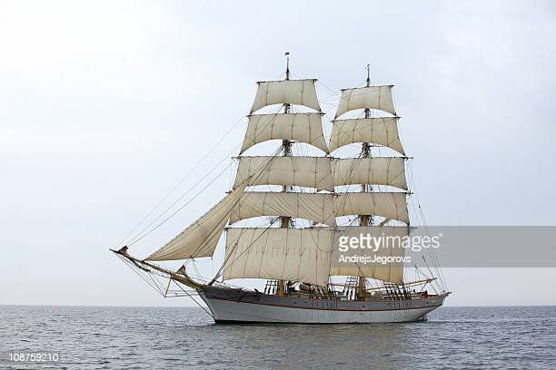 tallship tre kronor at sea - pirate ship stock photos and pictures