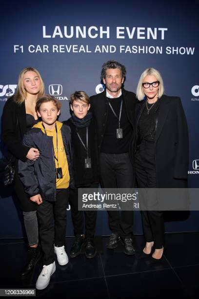 Tallula Dempsey, Darby Dempsey, Sullivan Dempsey, Patrick Dempsey and Jillian Fink attend the Scuderia AlphaTauri launch event at Hangar 7 on...