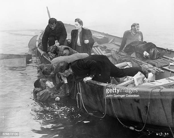 Tallulah Bankhead and cast mates in scene from Alfred Hitchcock's Lifeboat
