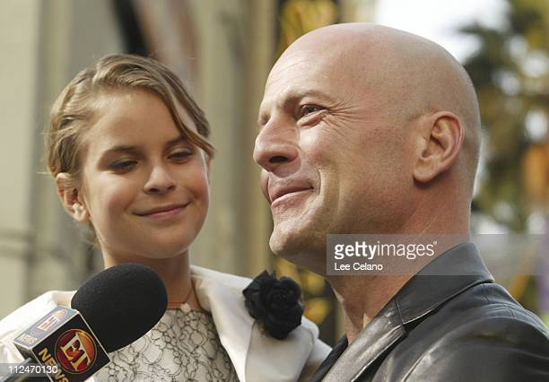 Tallulah Belle Willis and father Bruce Willis during The Whole Ten Yards World Premiere Red Carpet at Grauman's Chinese Theatre in Hollywood...