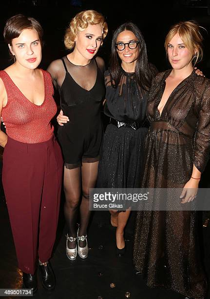 """Tallulah Belle Willis, sister Rumer Willis, mother Demi Moore and Scout LaRue Willis pose backstage as Rumer makes her broadway debut as """"Roxie Hart""""..."""