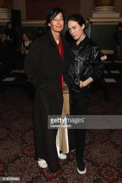 Tallulah Harlech and Amanda Harlech attend the Simone Rocha show during London Fashion Week February 2018 at Goldsmith's Hall on February 17 2018 in...