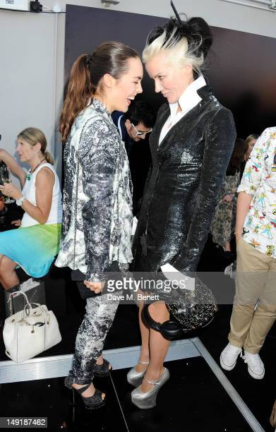 Tallulah Harlech and Daphne Guinness attend a private cocktail party celebrating the launch of Karl Lagerfeld's collections 'KARL ' and 'KARL...