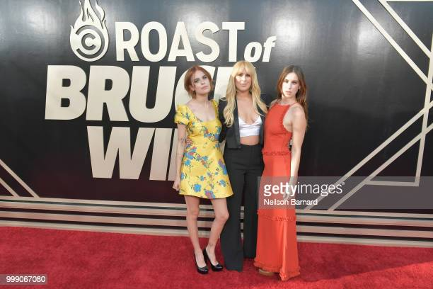 Tallulah Willis Rumer Willis and Scout Willis attend the Comedy Central Roast of Bruce Willis at Hollywood Palladium on July 14 2018 in Los Angeles...