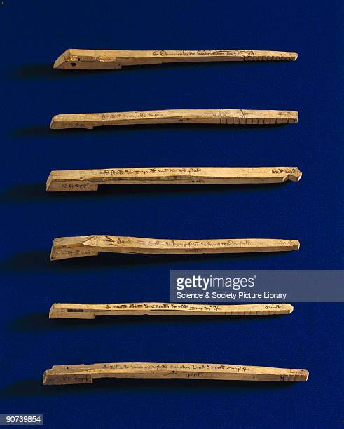 Tally sticks were a method of acounting for loans and payments used by the Treasury Each stick contains notches to show the amount deposited the name...