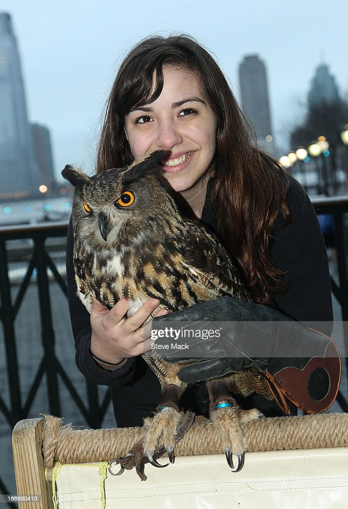 Talon Skye and an owl at 'The Birds' Tribeca Drive-In Screening during the 2013 Tribeca Film Festival on April 18, 2013 in New York City.