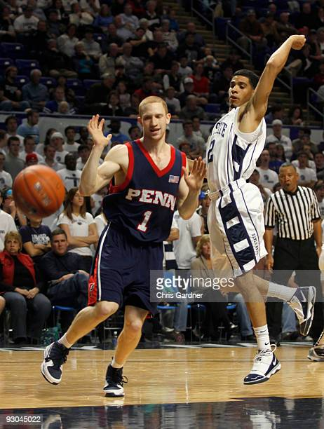 Talor Battle of the Penn State Nittany Lions knocks the ball away from Zack Rosen of the Penn Quakers as he drives to the basket at the Bryce Jordan...