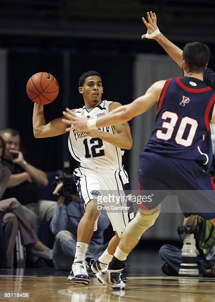 Talor Battle of the Penn State Nittany Lions looks to pass the ball against the Penn Quakers at the Bryce Jordan Center on November 13 2009 in State...
