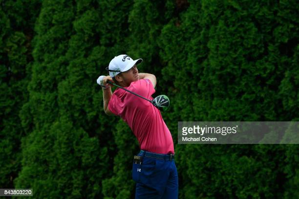 Talor Gooch hits a drive during the third round of the Nationwide Children's Hospital Championship held at The Ohio State University Golf Club on...