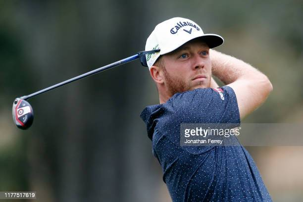 Talor Gooch hits on the 17th hole during the second round of the Safeway Open at Silverado Resort on September 27 2019 in Napa California