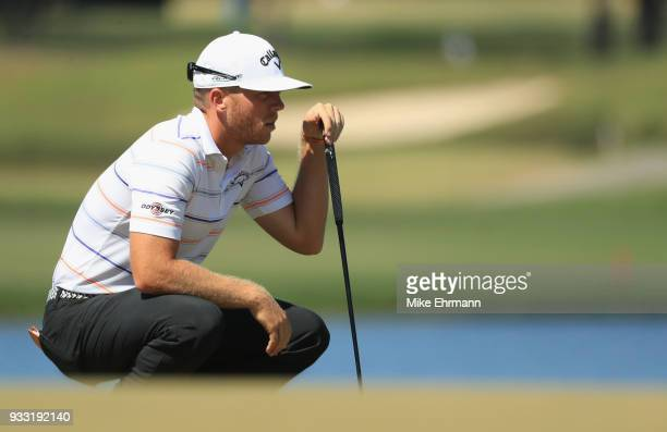 Talor Gooch lines up a putt on the sixth hole during the third round at the Arnold Palmer Invitational Presented By MasterCard at Bay Hill Club and...