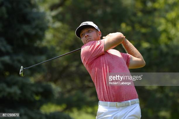 Talor Gooch makes a tee shot on the second hole during the final round of the Webcom Tour Pinnacle Bank Championship on July 23 2017 at the Indian...