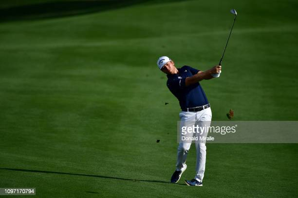 Talor Gooch of the United States plays a shot during the final round of the Desert Classic at the Stadium Course on January 20 2019 in La Quinta...