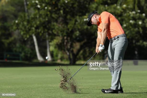 Talor Gooch of the United States plays a shot on the eighth hole during round three of the Sony Open In Hawaii at Waialae Country Club on January 13...