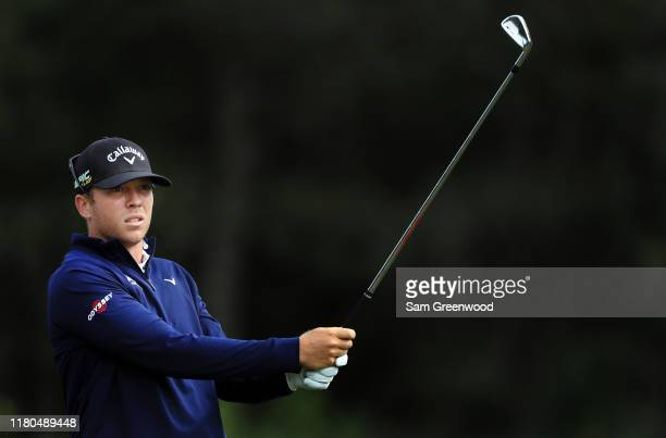Talor Gooch of the United States plays his shot from the 14th tee during the second round of the Houston Open at the Golf Club of Houston on October...