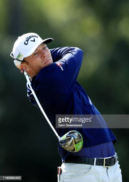 Talor Gooch of the United States plays his shot from the eighth tee during the third round of the Houston Open at the Golf Club of Houston on October...