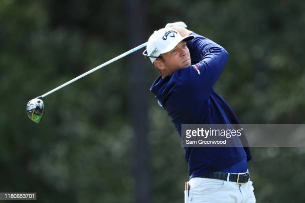 Talor Gooch of the United States plays his shot from the sixth tee during the third round of the Houston Open at the Golf Club of Houston on October...
