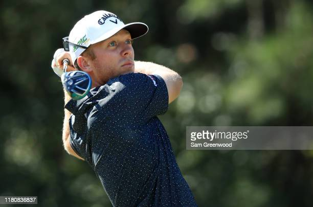 Talor Gooch of the United States plays his shot from the sixth tee during the final round of the Houston Open at the Golf Club of Houston on October...