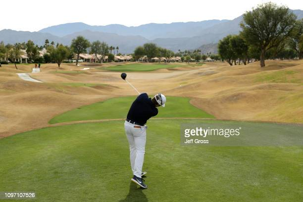 Talor Gooch of the United States tees off on the 8th hole during the final round of the Desert Classic at the Stadium Course on January 20 2019 in La...