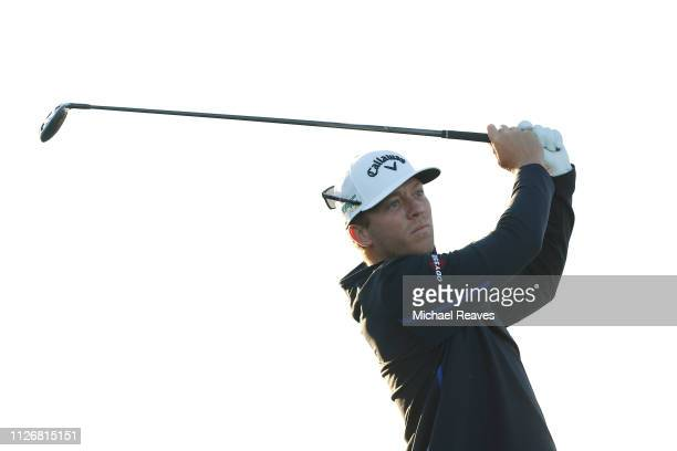 Talor Gooch plays his shot from the 11th tee during the second round of the Waste Management Phoenix Open at TPC Scottsdale on February 01 2019 in...