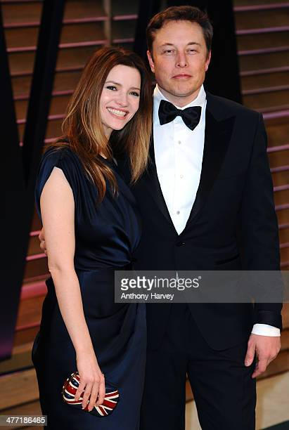 Talulah Riley and CEO of Tesla Motors Elon Musk attend the 2014 Vanity Fair Oscar Party hosted by Graydon Carter on March 2, 2014 in West Hollywood,...