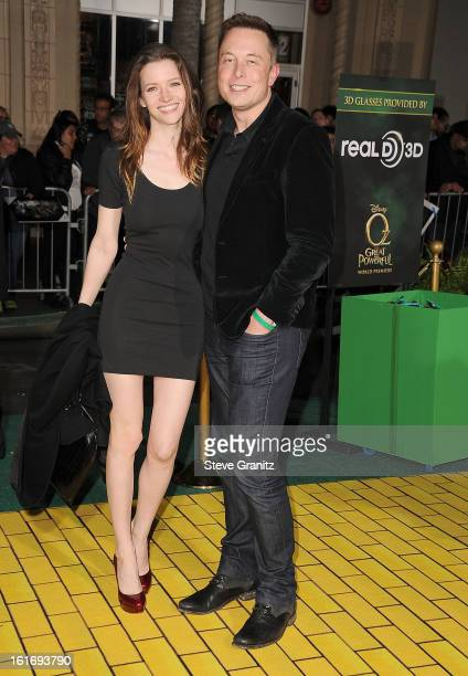 Talulah Riley and Elon Musk arrives at the OZ The Great And Powerful Los Angeles Premiere at the El Capitan Theatre on February 13 2013 in Hollywood...