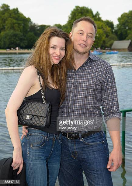 Talulah Riley and Elon Musk attend Chucs Dive & Mountain Shop's swim party at Serpentine on July 4, 2011 in London, England.
