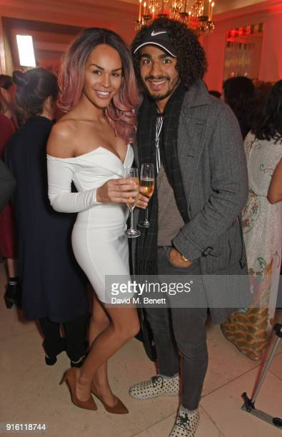 TalulahEve and Josh Lelan attend a drinks reception at the London Evening Standard British Film Awards 2018 at Claridge's Hotel on February 8 2018 in...