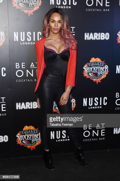 TalulahEve attends the 'Shocktober' press night at Tulleys Farm on October 6 2017 in Crawley West Sussex