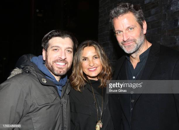 Tam Mutu Mariska Hargitay and Peter Hermann pose backstage at the hit musical based on the Baz Luhrmann film Moulin Rouge on Broadway at The Al...