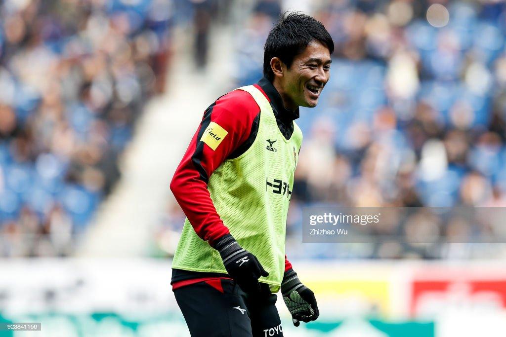 #28 Tamada Keiji of Nagoya Grampus warm up during the J.League J1 match between Gamba Osaka and Nagoya Grampus at Suita City Football Stadium on February 24, 2018 in Suita, Tokyo, Japan.