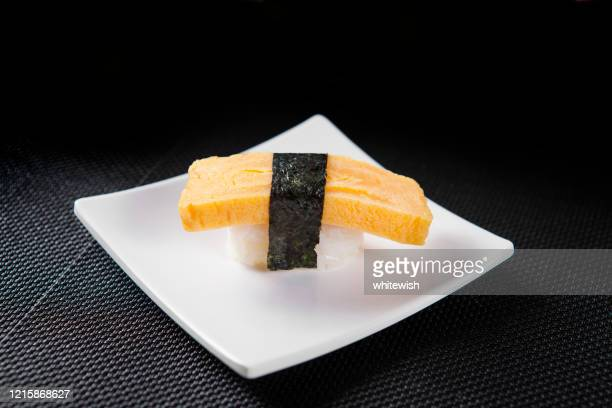 tamago egg sushi - nigiri stock pictures, royalty-free photos & images