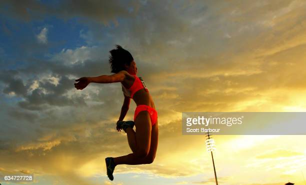 Tamaka Shimizu of Japan competes in the Mixed Long Jump event during the Melbourne Nitro Athletics Series at Lakeside Stadium on February 11 2017 in...