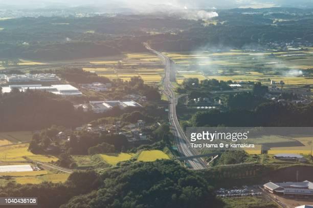 Tamakawa village in Fukushima prefecture in Japan daytime aerial view from airplane