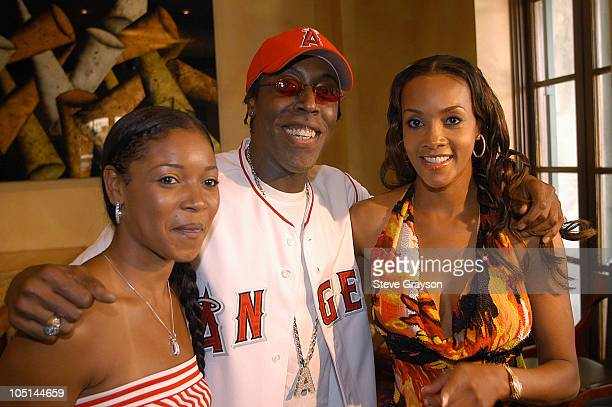 Tamala Jones, Arsenio Hall and Vivica A.Fox during 2003 Lady Of Soul Train Awards Nominations at Spagos in Beverly Hills, California, United States.
