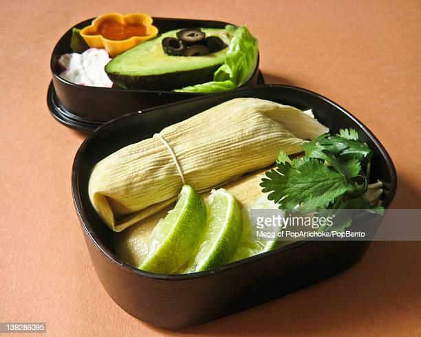 Tamales in bento box